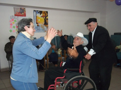 Our resident Kolya is also dancing (the man in the wheel chairs)