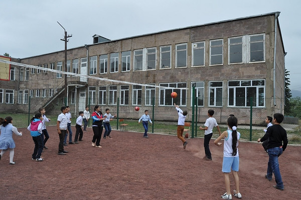 The renovated outdoor sports ground of the secondary school in the border village of Nerkin Karmiraghbyur serves its purpose already.